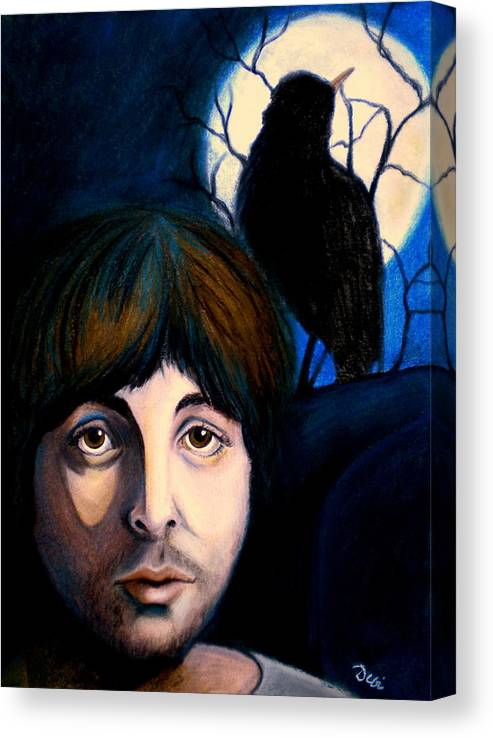 Paul Mccartney Canvas Print featuring the painting Blackbird by Debi Starr