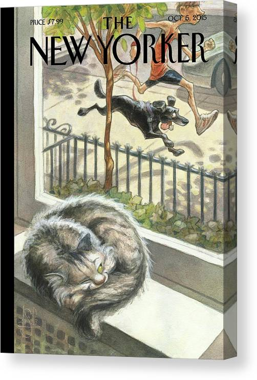 Cat Canvas Print featuring the painting Catnap by Peter de Seve