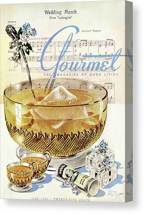 Illustration Canvas Print featuring the photograph Champagne Punch And The Wedding March by Henry Stahlhut