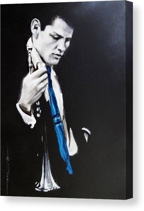 Chet Baker Canvas Print featuring the painting Chet Baker - Almost Blue by Eric Dee