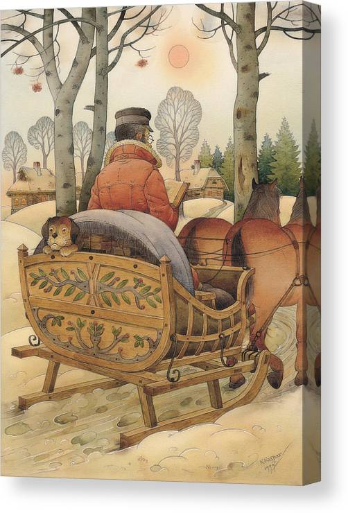 Christmas Gretting Card Winter Books Lanscape Snow White Holiday Canvas Print featuring the painting Christmas Eve by Kestutis Kasparavicius