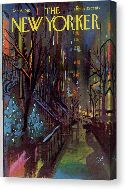 Christmas Canvas Print featuring the painting Christmas In New York by Arthur Getz