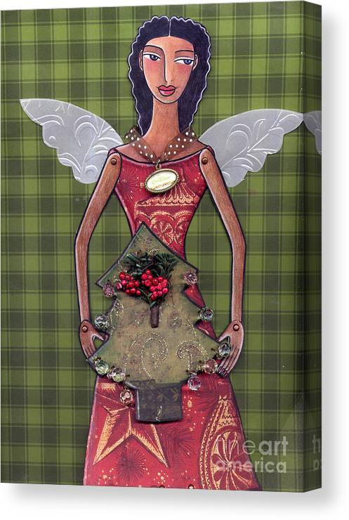 Paper-doll Canvas Print featuring the mixed media Christmas tree angel by Elaine Jackson