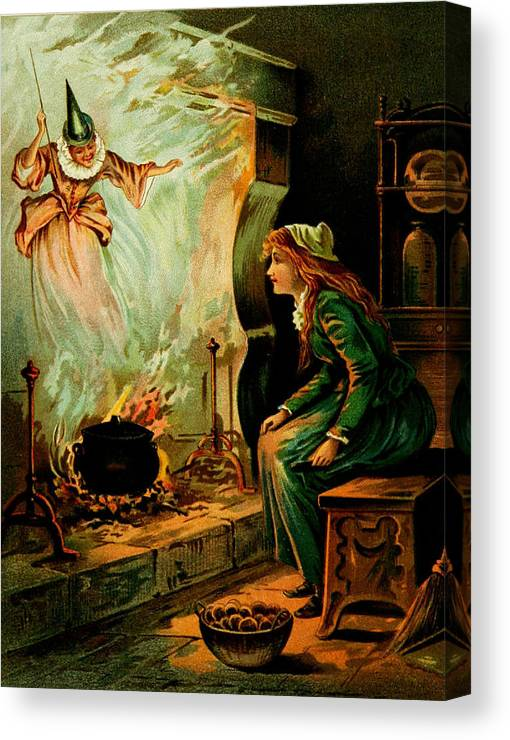 Cinderella And The Fairy Godmother Canvas Print featuring the digital art Cinderella And The Fairy Godmother by Mother Goose