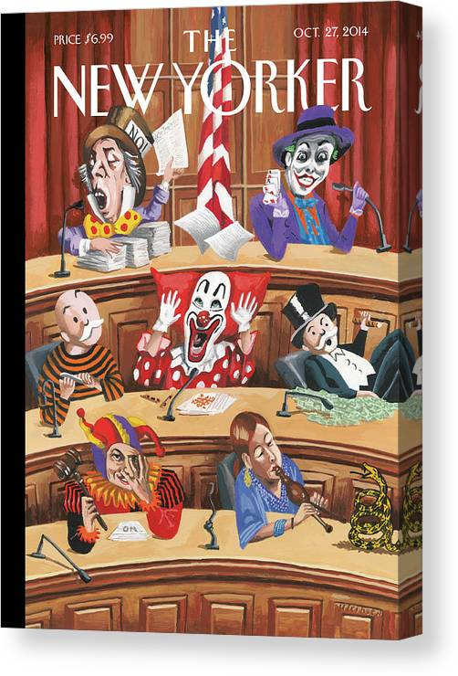 Politics Canvas Print featuring the painting Fun and Games in Congress by Mark Ulriksen
