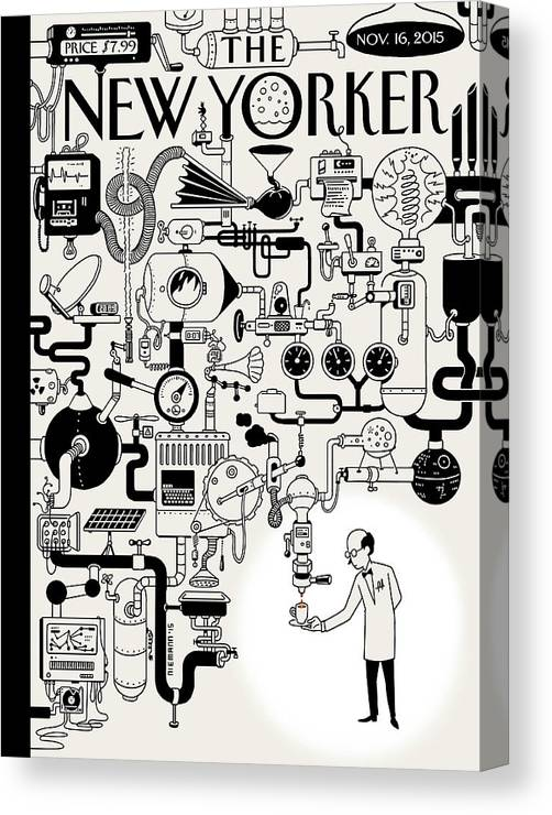 142340 Canvas Print featuring the painting Coffee Break by Christoph Niemann
