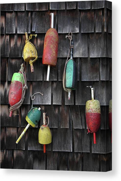 Cedar Tree Canvas Print featuring the photograph Crab Pot Floats by Photo By Wayne Bierbaum; Annapolis, Maryland