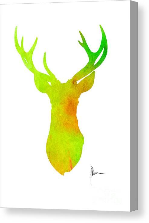 Deer Silhouette Art Print Painting Antlers Home Decor Canvas Print Canvas Art By Joanna Szmerdt