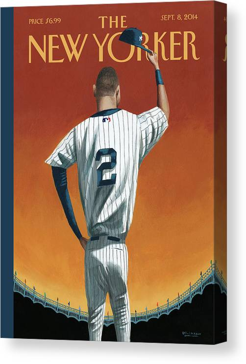 Retirement Canvas Print featuring the painting Derek Jeter Bows Out by Mark Ulriksen