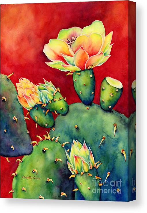 Cactus Canvas Print featuring the painting Desert Bloom by Hailey E Herrera