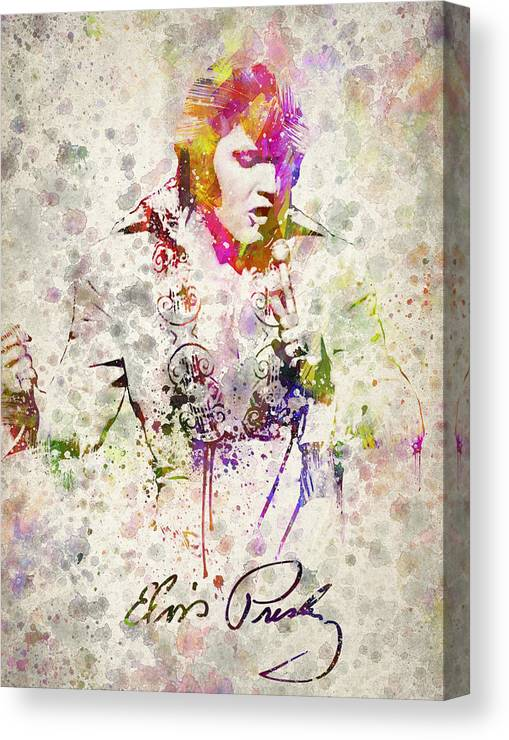 Elvis Presley Canvas Print featuring the drawing Elvis Presley by Aged Pixel