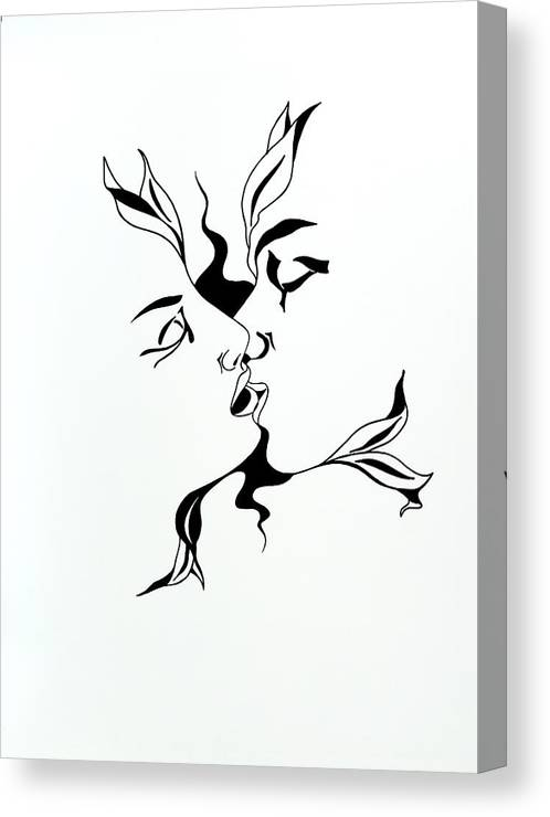 Love Canvas Print featuring the drawing First Kiss by Yelena Tylkina