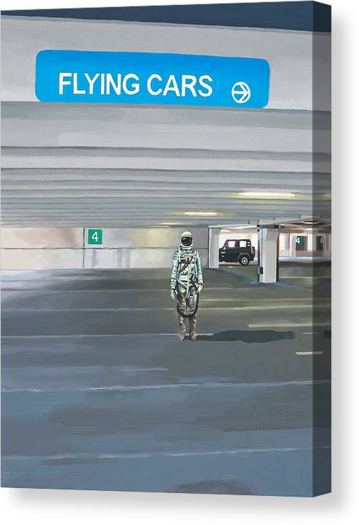 Astronaut Canvas Print featuring the painting Flying Cars to the Right by Scott Listfield