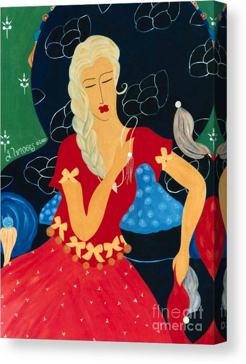 #female Canvas Print featuring the painting For Savana by Jacquelinemari