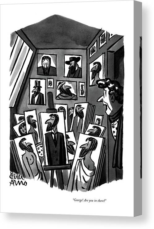 Wife Peeking Into Artist-husband's Studio Canvas Print featuring the drawing George! Are You In There? by Peter Arno