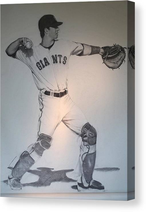 Buster Posey Canvas Print featuring the drawing Giant Posey by Darren Kerr