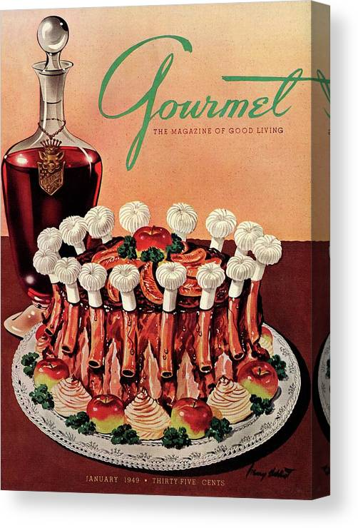 Illustration Canvas Print featuring the photograph Gourmet Cover Illustration Of A Crown Roast by Henry Stahlhut