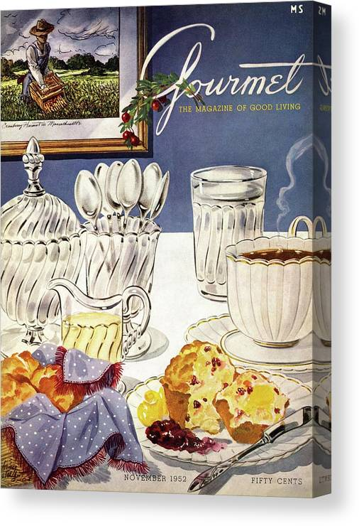 Food Canvas Print featuring the photograph Gourmet Cover Illustration Of Cranberry Muffins by Henry Stahlhut