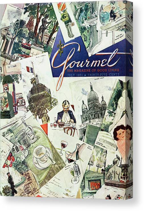 Illustration Canvas Print featuring the photograph Gourmet Cover Illustration Of Drawings Portraying by Henry Stahlhut