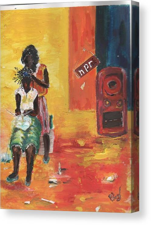 Figurative Canvas Print featuring the painting Grooving by Peggy Blood