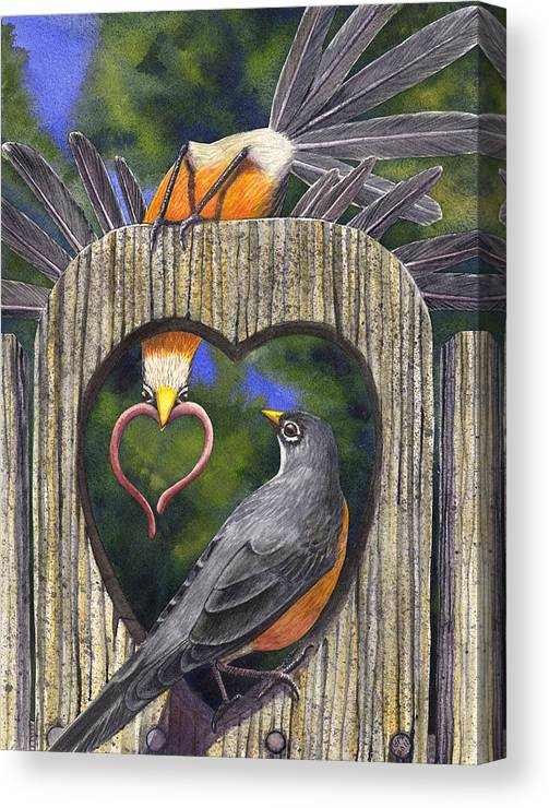 Robin Canvas Print featuring the painting Heartfelt by Catherine G McElroy