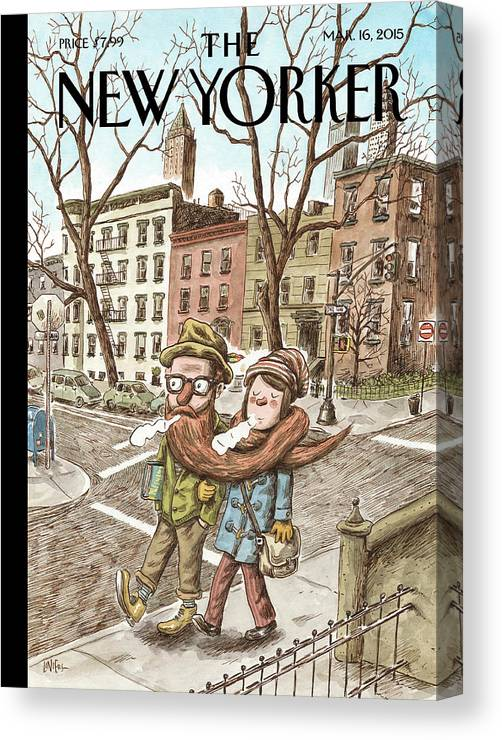 Hipster Canvas Print featuring the painting Hipster Stole by Ricardo Liniers