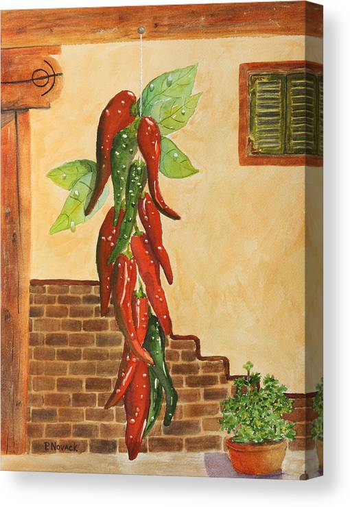 Chili Canvas Print featuring the painting Hot Chili Peppers by Patricia Novack