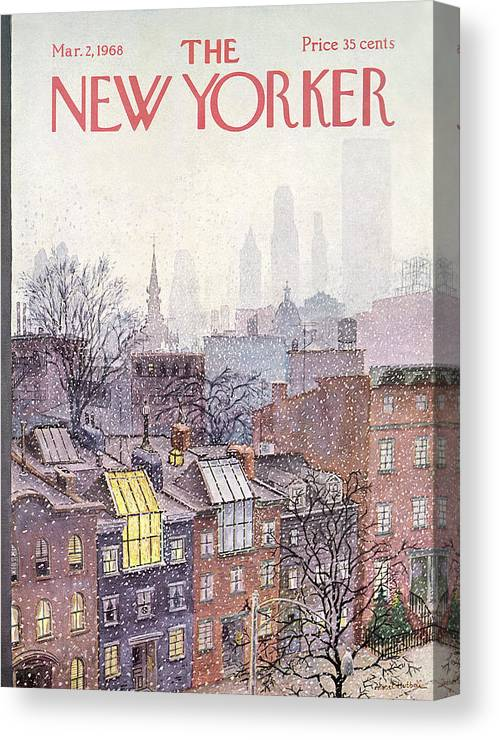 Albert Hubbell Ahu Canvas Print featuring the painting New Yorker March 2, 1968 by Albert Hubbell
