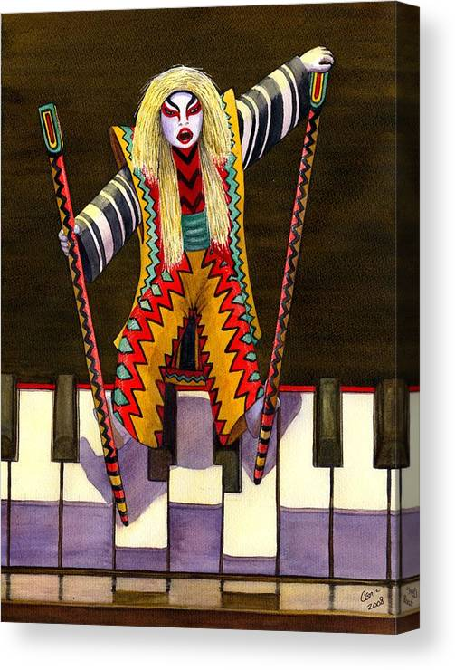 Kabuki Canvas Print featuring the painting Kabuki Chopsticks 2 by Catherine G McElroy