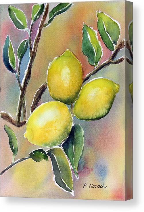 Lemon Canvas Print featuring the painting Lemon Tree by Patricia Novack