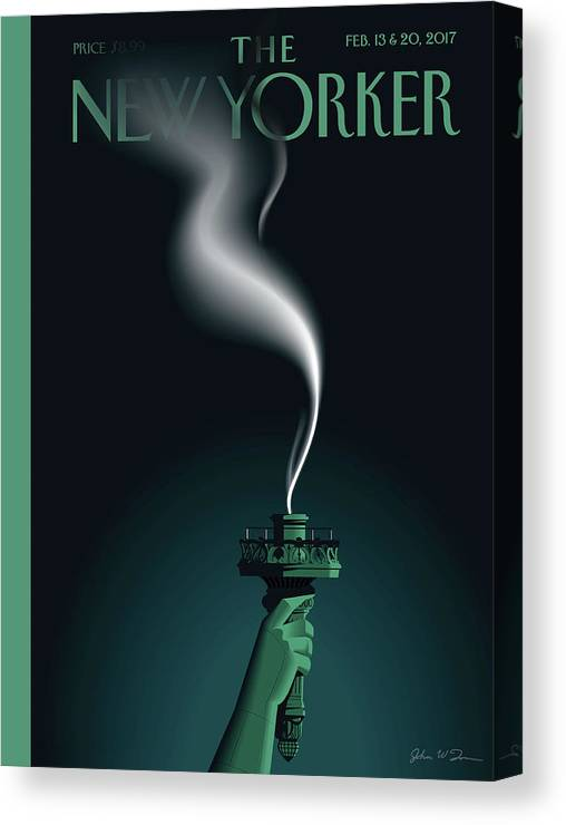 Statue Of Liberty Canvas Print featuring the painting Liberty's Flameout by John W Tomac