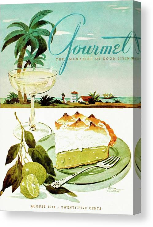Food Canvas Print featuring the photograph Lime Meringue Pie With Champagne by Henry Stahlhut