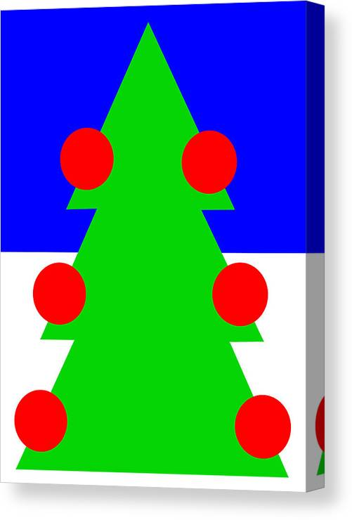 Lonely Christmas Tree Wishes You A Merry Christmas Canvas Print featuring the digital art Lonely Christmas Tree wishes you a Merry Christmas by Asbjorn Lonvig