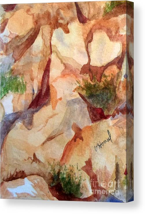 Heart Canvas Print featuring the painting Love In The Rocks Medjugorje 2 by Vicki Housel