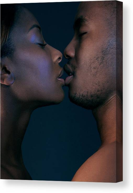 Human Canvas Print featuring the photograph Lovers Kissing by Kate Jacobs/science Photo Library
