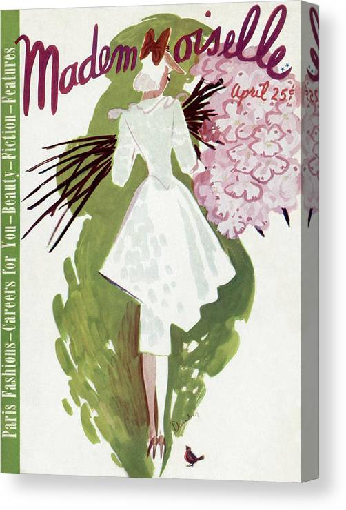 Fashion Canvas Print featuring the photograph Mademoiselle Cover Featuring A Woman Carrying by Elizabeth Dauber