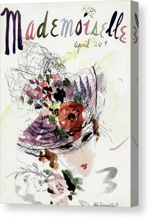 Fashion Canvas Print featuring the photograph Mademoiselle Cover Featuring An Illustration by Helen Jameson Hall