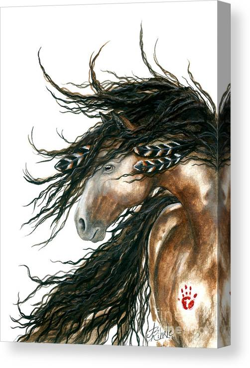 Horse Canvas Print featuring the painting Majestic Pinto Horse 80 by AmyLyn Bihrle