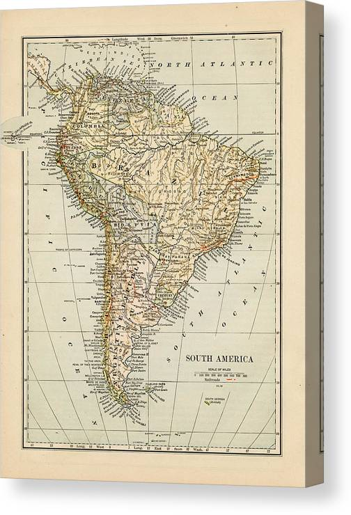 Burnt Canvas Print featuring the photograph Map Of South America 1875 by Thepalmer