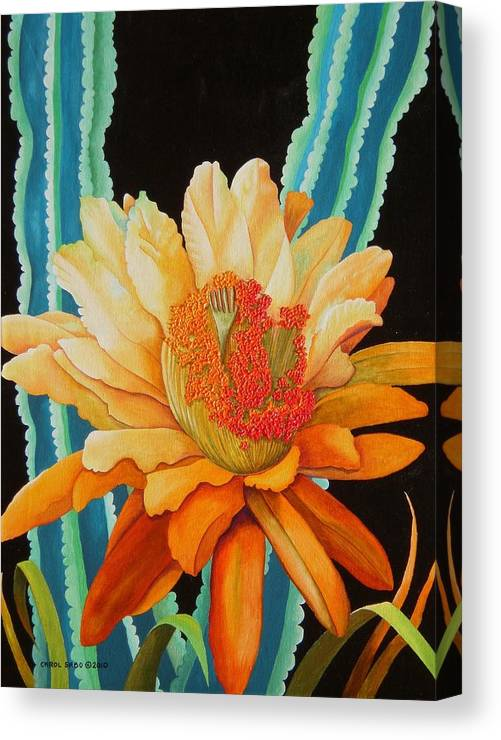Acrylic Canvas Print featuring the painting Midnight Bloom by Carol Sabo