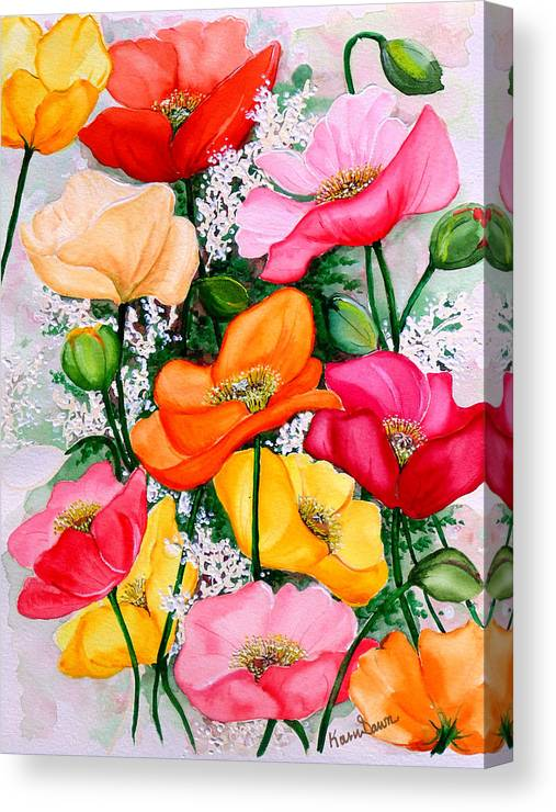 Poppies Canvas Print featuring the painting Mixed Poppies by Karin Dawn Kelshall- Best
