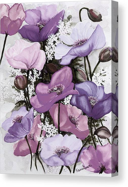 Purple Canvas Print featuring the painting Mixed Poppies Purple by Karin Dawn Kelshall- Best