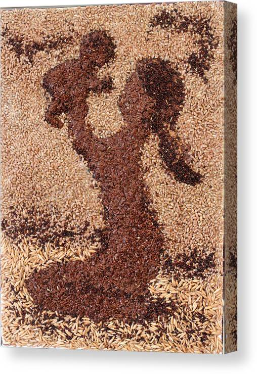 Mother And Child Canvas Print featuring the mixed media Mother Earth II by Naomi Gerrard