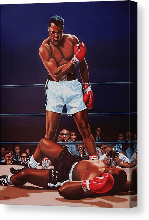 Mohammed Ali Versus Sonny Liston Canvas Print featuring the painting Muhammad Ali versus Sonny Liston by Paul Meijering