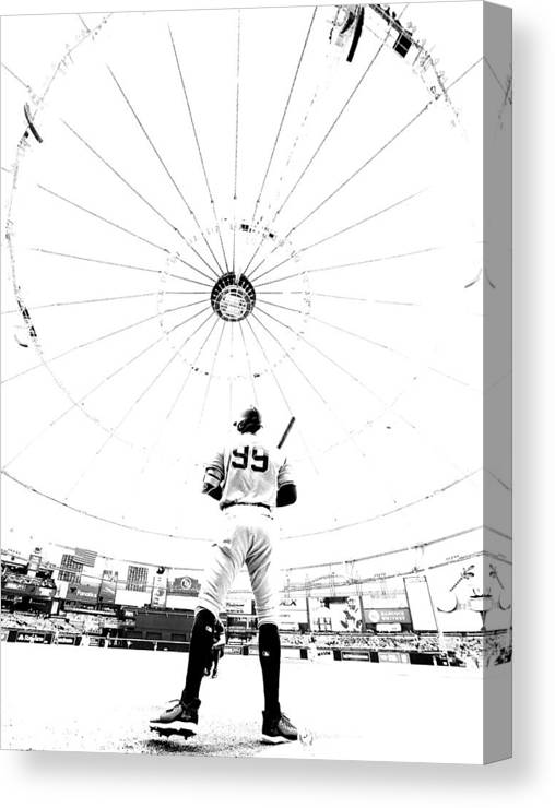 People Canvas Print featuring the photograph New York Yankees v Tampa Bay Rays by Mike Ehrmann