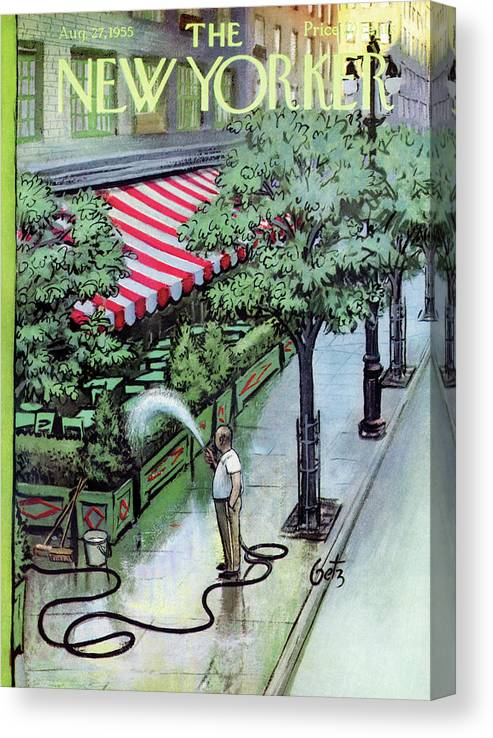 Restaurant Canvas Print featuring the painting New Yorker August 27th, 1955 by Arthur Getz