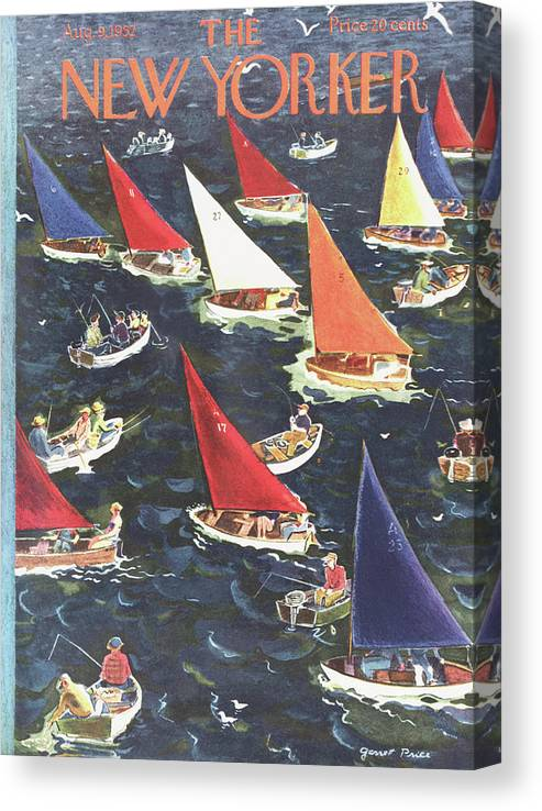 Seashore Canvas Print featuring the painting New Yorker August 9th, 1952 by Garrett Price