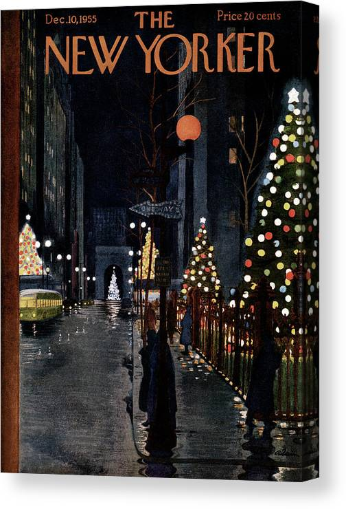 Urban Canvas Print featuring the painting New Yorker December 10th, 1955 by Alain