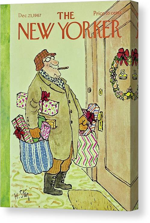 Illustration Canvas Print featuring the painting New Yorker December 23rd 1967 by William Steig