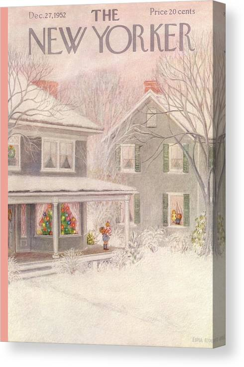 Suburb Canvas Print featuring the painting New Yorker December 27th, 1952 by Edna Eicke